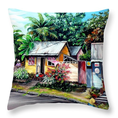 Landscape Painting Caribbean Painting Shop Trinidad Tobago Poinciana Painting Market Caribbean Market Painting Tropical Painting Throw Pillow featuring the painting Chins Parlour   by Karin Dawn Kelshall- Best