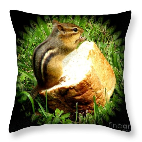 Chipmunks Throw Pillow featuring the photograph Chipmunk Saying Grace by Rose Santuci-Sofranko