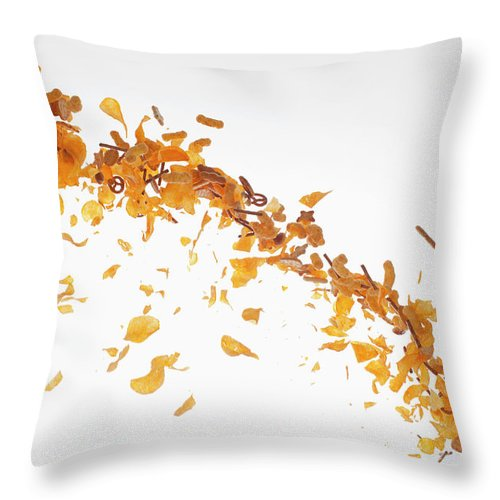 Curve Throw Pillow featuring the photograph Chips, Pretzels And Savory Snacks by Dual Dual