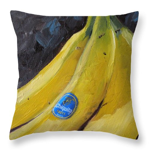 Bananas Throw Pillow featuring the painting Chiquita by Saundra Lane Galloway