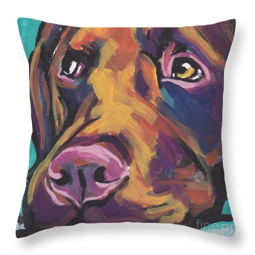 Labrador Retriever Throw Pillow featuring the painting Choco Lab Love by Lea S