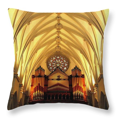 Saint Joseph's Cathedral Throw Pillow featuring the photograph Choir Loft At Saint Josephs Cathedral Buffalo New York by Rose Santuci-Sofranko