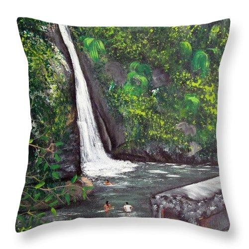 Waterfall Throw Pillow featuring the painting Chorro De Dona Juana by Gloria E Barreto-Rodriguez