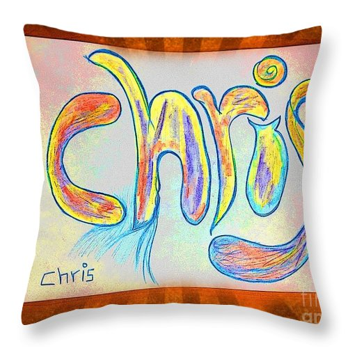 Names Throw Pillow featuring the digital art Chris by GOLDA Zehava TALOR