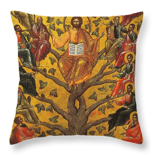 Religions; Son Of God Throw Pillow featuring the painting Christ And The Apostles by Unknown