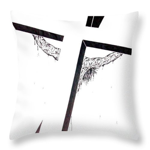 Christ Throw Pillow featuring the drawing Christ On Cross by Justin Moore