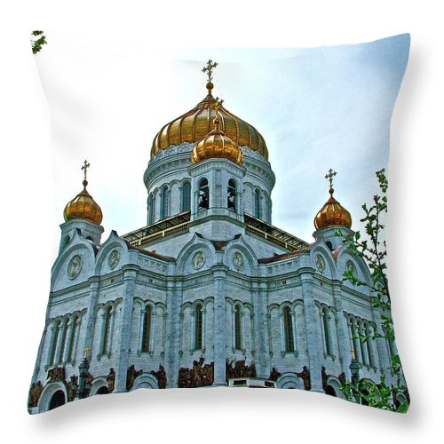 Christ The Savior Cathedral In Moscow Throw Pillow featuring the photograph Christ The Savior Cathedral In Moscow-russia by Ruth Hager
