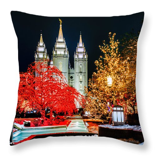 Christmas Throw Pillow featuring the photograph Christmas At Temple Square by La Rae Roberts