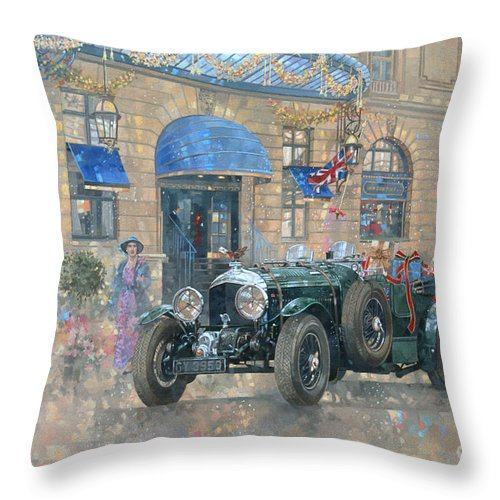 Rolls Royce Throw Pillow featuring the painting Christmas At The Ritz by Peter Miller