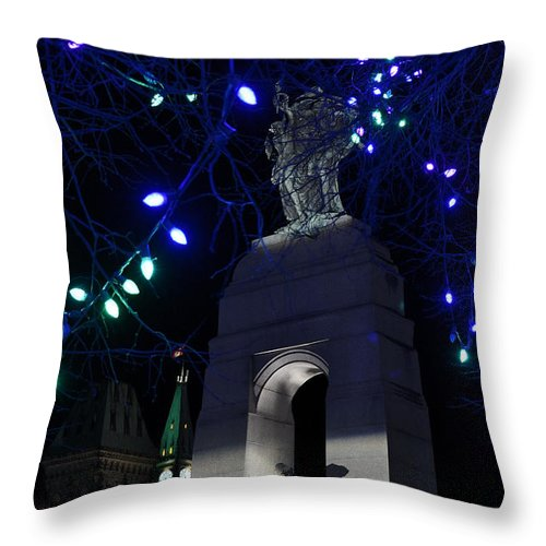 Parliament Hill Throw Pillow featuring the photograph Christmas At The War Memorial by Joshua McCullough