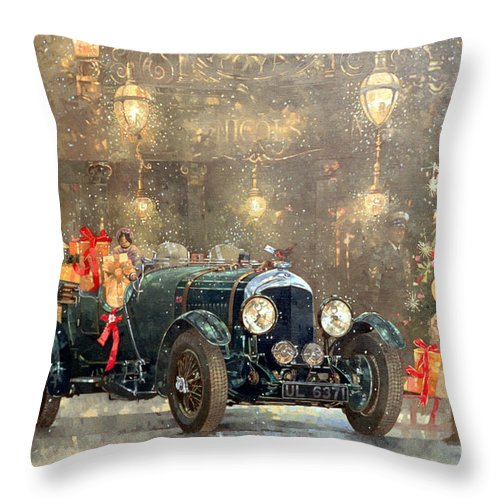 Motor Car Throw Pillow featuring the painting Christmas Bentley by Peter Miller