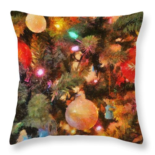 Angel Throw Pillow featuring the painting Christmas Branches by Jeffrey Kolker