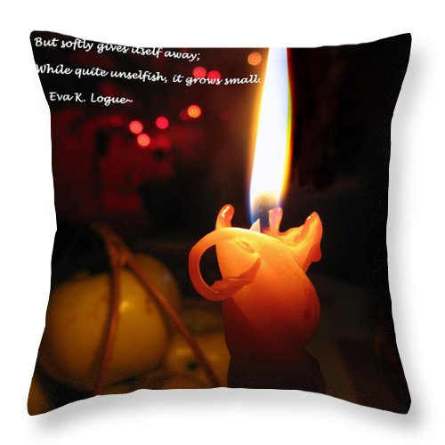 Christmas Candle Throw Pillow featuring the photograph Christmas Candle Greeting by Ausra Huntington nee Paulauskaite