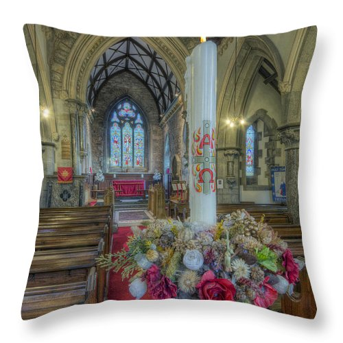 Church Throw Pillow featuring the photograph Christmas Candle by Ian Mitchell