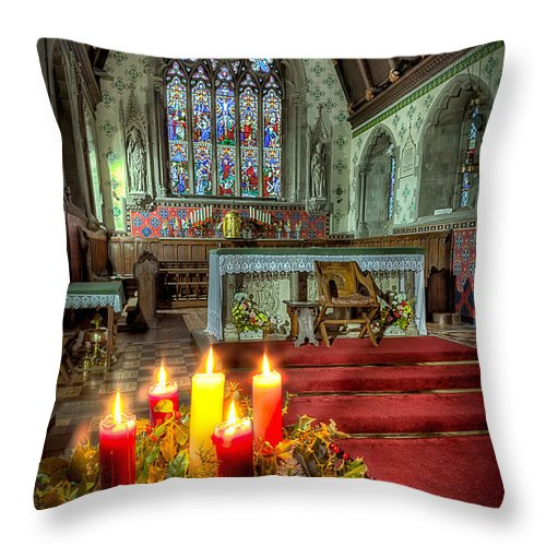 Christmas Throw Pillow featuring the photograph Christmas Candles by Adrian Evans