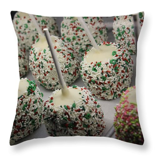 Christmas Photographs Throw Pillow featuring the photograph Christmas Candy Apples by Bill Owen