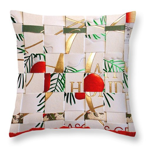 Christmas Throw Pillow featuring the mixed media Christmas Card Abstract by Steve Karol