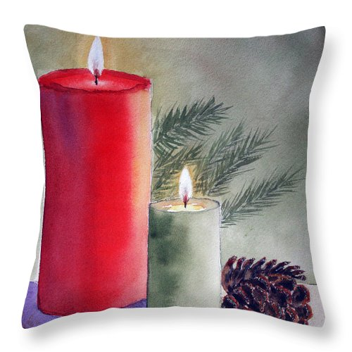 Christmas Throw Pillow featuring the painting Christmas Centerpiece by Patricia Novack