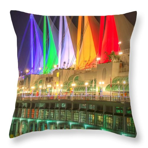 Architecture Throw Pillow featuring the photograph Christmas Colors At Canada Place by Sabine Edrissi
