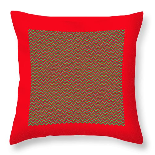 Green Throw Pillow featuring the digital art Christmas Colors Chevron by Cassie Peters