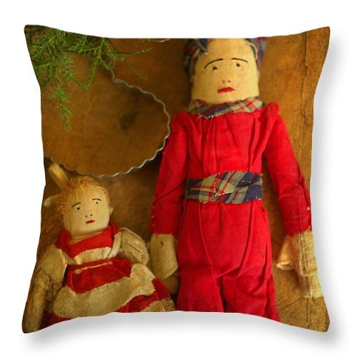 Christmas Dolls Throw Pillow featuring the photograph Christmas Dolls by Suzanne Powers