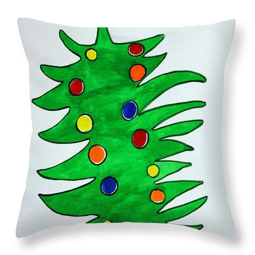 Fir-tree Throw Pillow featuring the painting Christmas Fir-tree by Khromykh Natalia