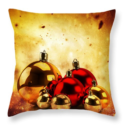 Winter Throw Pillow featuring the photograph Christmas Glass Balls On Winter Gold Background by Michal Bednarek