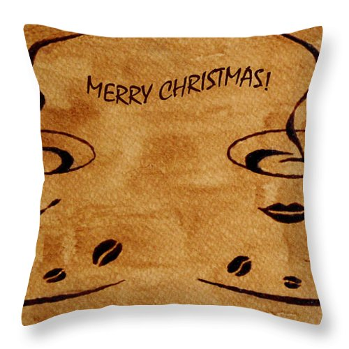 Christmas Greeting Card Throw Pillow featuring the painting Christmas Greeting by Georgeta Blanaru