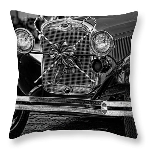 Christopher Holmes Photography Throw Pillow featuring the photograph Christmas Grillwork - Bw by Christopher Holmes