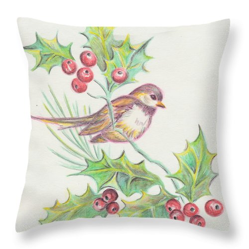 Japanese Art Throw Pillow featuring the painting Christmas Holly Bird by Dale Jackson