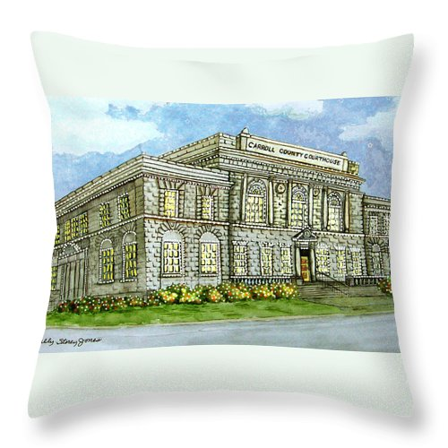 Christmas Throw Pillow featuring the painting Christmas In Carrollton Ga by Sally Storey Jones