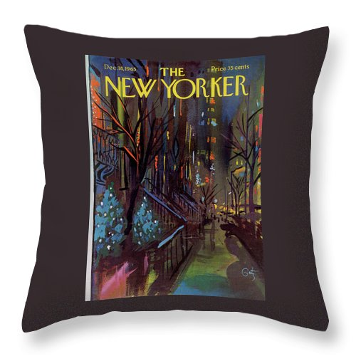 Christmas Throw Pillow featuring the painting Christmas In New York by Arthur Getz