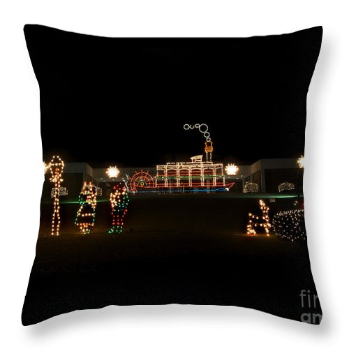 Scenic Tours Throw Pillow featuring the photograph Christmas Lights by Skip Willits