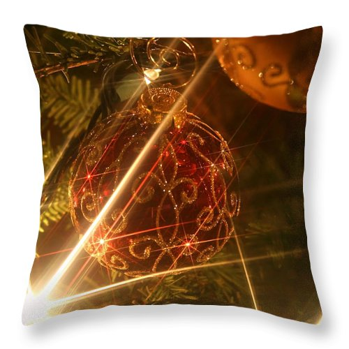 Christmas Ornaments Throw Pillow featuring the photograph Christmas Ornaments 1 by Ellen Henneke