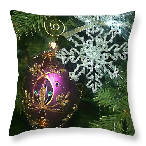 Christmas Ornaments Throw Pillow featuring the photograph Christmas Ornaments 2 by Ellen Henneke