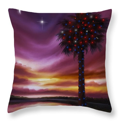 James Christopher Hill Throw Pillow featuring the painting Christmas Palmetto Tree by James Christopher Hill