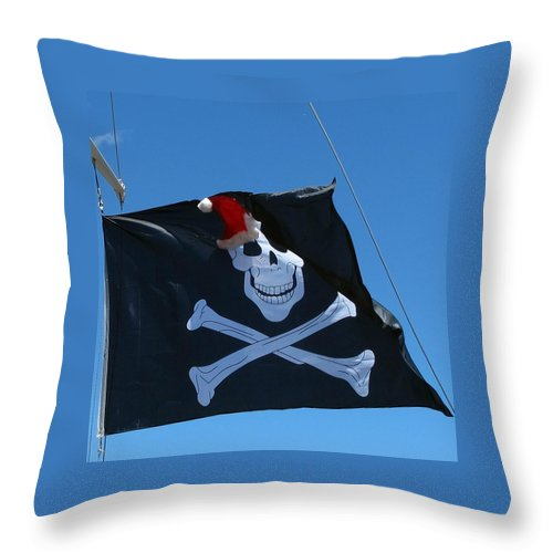 Bandit Throw Pillow featuring the photograph Christmas Pirate Flag by Goncalo Carreira