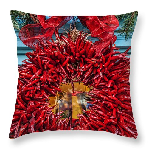 Old Town Albuquerque Throw Pillow featuring the photograph Christmas Ristra by Diana Powell