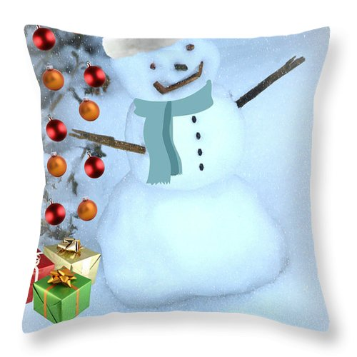 Christmas Card Throw Pillow featuring the mixed media Christmas Snowman by Eric Liller