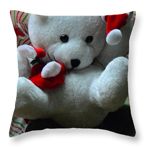 White Throw Pillow featuring the photograph Christmas Teddy Bear by Kathleen Struckle