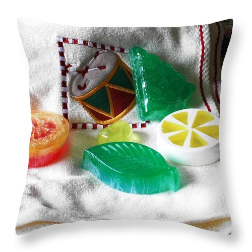 Orange Throw Pillow featuring the photograph Christmas Thoughts Soap by Anastasiya Malakhova
