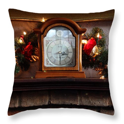 Clock Throw Pillow featuring the photograph Christmas Time by Terri Waters