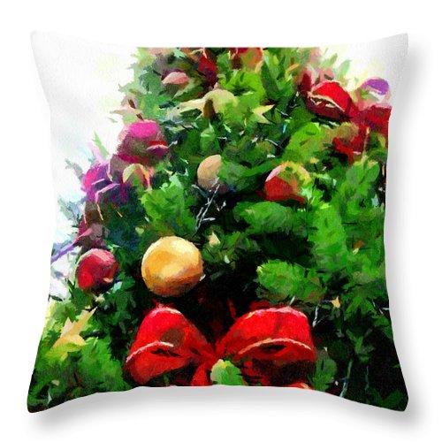 Christmas Tree Throw Pillow featuring the painting Christmas Tree by Georgi Dimitrov