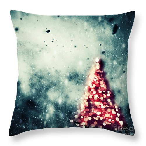 Tree Throw Pillow featuring the photograph Christmas Tree Glowing On Winter Vintage Background by Michal Bednarek