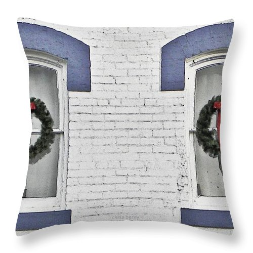Christmas Throw Pillow featuring the photograph Christmas Wreaths by Chris Berry