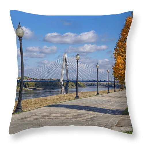 Kit Bond Throw Pillow featuring the photograph Christopher S. Bond Bridge by Alan Hutchins