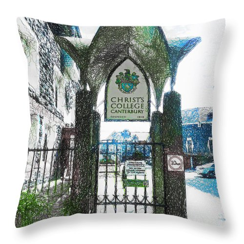 Christ's Throw Pillow featuring the photograph Christ's College Canterbury by Steve Taylor