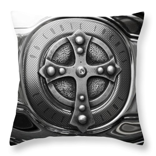 Chrome Throw Pillow featuring the photograph Chrome Cross - 96 Cubic Inches by Bill Cannon
