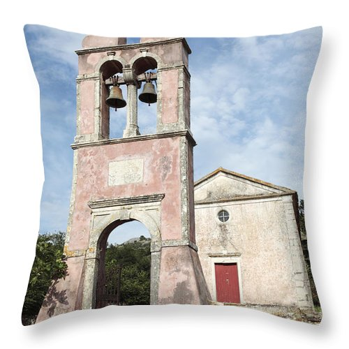 Church Bell Tower Throw Pillow featuring the photograph Chruch In Perithia Corfu by Neil Overy