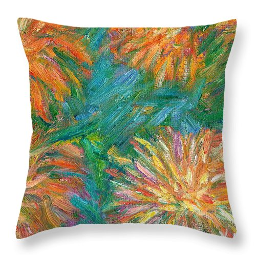 Floral Throw Pillow featuring the painting Chrysanthemum Shift by Kendall Kessler